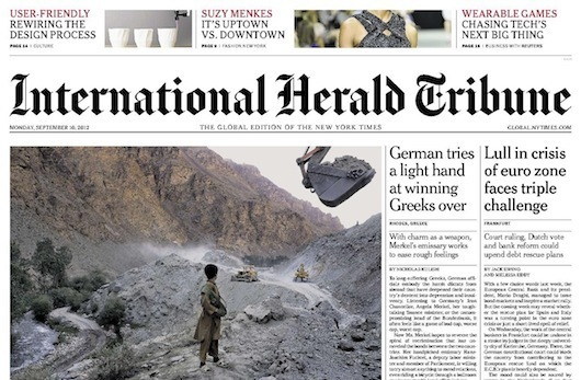 On the cover of the IHT